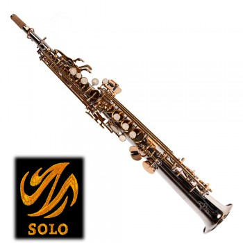 SOLO Bb Straight Soprano Saxophone - Nickel Plated Body w/Dark Gold Lacquer Keys 30NL