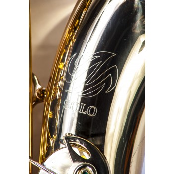 SOLO NICKEL PLATED BODY & GOLD PLATED KEYS Bb TENOR SAXOPHONE SAX W/CASE AND ACCESSORIES 37NL